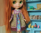 Colorful Maxi dress for Blythe 2 , Hippie Inspired, Puffy sleeves