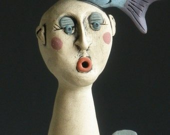 FISH MONGER, Woman Sculpture, Sculpted Female Figure, Fish, Ceramic Art, Clay Sculpture, Ceramic Sculpture, Clay Figure, Figurine, Clay Fish