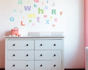 Wall Decals A-Z Alphabet ABC's Fabric Eco-friendly Peel & Stick Removable Reusable Wall Stickers