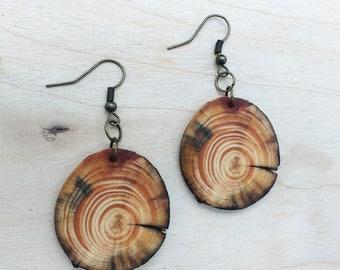 Salvaged Pine Earrings, Boho Earrings, Wood Dangle Earrings, Rustic Tree Slice Earrings