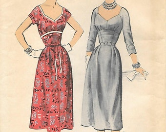 Advance 6950 1950s Empire Midriff Dress Unprinted Unused Vintage Sewing Pattern Size 12 Scoop Neck Fitted Bodice