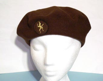 Brownies Official Beret Pure Wool Felt Circa 1960s Vintage Pixie Emblem GGC Brown Girl Guides of Canada Circa 1960s Scouts