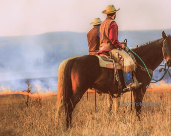 Working Cowboys - Cowboys - Horses - Controlled Burn - Prairie Tallgrass Preserve - Kansas - Flint Hills - Fine Art Photography