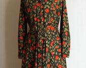 Vintage 70's Red Poppy Shirt Dress