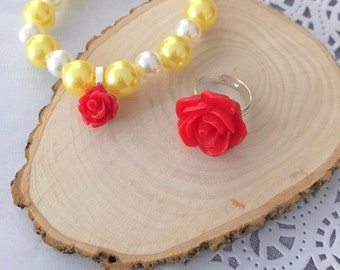 Red rose bracelet, red rose ring set, SET of FIVE. Comes with free jewelry box.