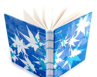 Blue Maple leaf Journal - handmade by Ruth Bleakley