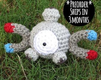 PREORDER -  Crochet - Chibi Pokemon Amigurumi - Magnemite. Electric Pokemon Plush. Steel Pokemon. Pokemon Crochet. Pokemon Cosplay. Korlista