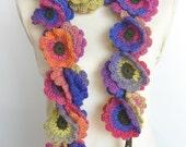 Floral Fall - Long -Focus-  Multicolor Crochet Flowers long Scarf