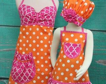 Mother/Daughter Matching Aprons - Orange & Pink Polka dot