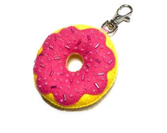 Donut Keyring - Kawaii Bag Charm - Cute Key Chain - Donut Bag Charm - Cute Donut Gifts - Kawaii Keychain