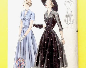 Factory Folded Vogue 6757 One-Piece Dress Two piece circular skirt, fitted bodice, shaped cuffs Early 1950's Vintage Sewing Pattern Bust 36