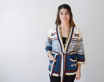 1970s White and Blue Space Knit Wrap Cardigan - S/M