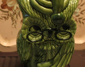 Vintage DeForest of California Owl Cookie Jar Avocado Green Owl Cookie Jar Vintage Kitchen Rare Color
