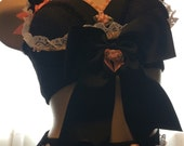 Sample Sale! Ready to Ship! Strange Vintage Custom-Black & Apricot Peach Upcycled Underbust Vest - S - Victorian Steampunk