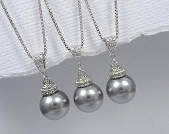 Grey Pearl Necklace, Swarovski Grey Pearl Bridesmaid Gift Necklace, Swarovski 10mm Grey Pearl Necklace, Grey Pearl Wedding Necklace