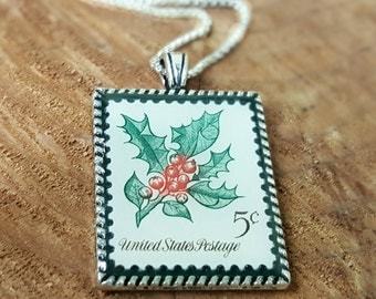 Vintage Christmas Stamp Necklace - Christmas Jewelry - Christmas Holly Necklace - 1964 Postage Stamp Necklace - Red and Green