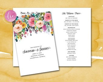 Folded Wedding Program, Order of Service, Printable Program, Wedding Party, Program, Church Program, Service Program, Floral Wedding Program