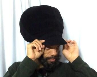 Men Black  Stretch Peak Hat-Men Hats- Dread Locs Hat-Choose a Length