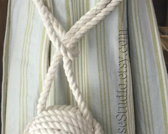 Nautical Curtain Ties - 2 Pure Cotton Rope Curtain Tie backs - Nautical Cream Curtain Ties - Beach Decor - Rope Curtain Ties