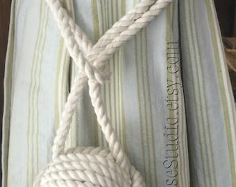 Nautical Curtain Ties - 2 Cream Rope Curtain Tie backs - Nautical Rope Curtain Ties - Beach Decor - Rope Curtain Ties