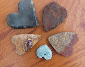 Natural rock hearts - five Love hearts - handmade natural stone hearts, Boulder Opal, Jasper, River stone, Feldspar, Quartz Malachiteheart