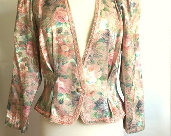Vintage BLUSH Pink FLORAL Tapestry Jacket / Womens Pink & PEARL Fitted Jacket / Nah Nah Collections / Womens Size Large / Fit And Flare Top