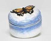 Ceramic Butterfly Keepsake Box - Monarch on Blue