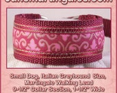 "Jansmartingales, Burgundy Dog Collar Leash Combination Walking Lead,  Italian Greyhound, Small Dog Size, 9 1/2"" Collar Section. Ibur083"