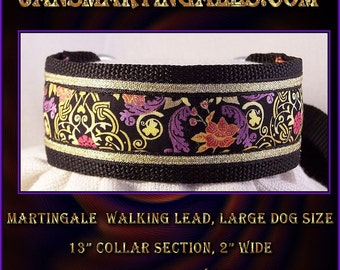 Jansmartingales,  Black Walking Lead, Dog Collar and Lead Combination, Greyhound, Large Dog Size, blk237