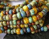 Picasso Seed Beads, 2/0-3/0 Czech Seed Beads, Aged Picasso- Caribbean Mix (20g)