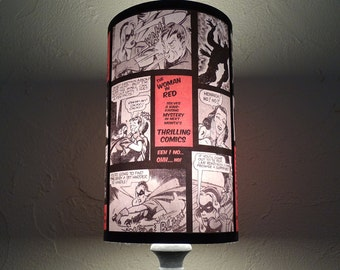 "Superhero Girls Lamp Shade Lampshade ""Comic Strip"" - red lamp shade, Comic book decor, comics, dorm room, gifts for geeks, feminsit gift"