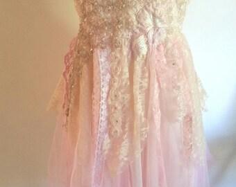 boho wedding dress, fairy wedding dress, peach wedding dress, romantic tattered, ballet wedding dress, pink wedding dress