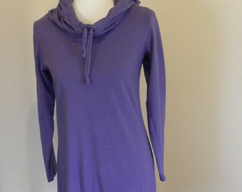Sale Purple Small Lynwood Organic Cotton Hooded Jersey Knit tunic Shirt  Made in the USA - Organic Cotton Clothing