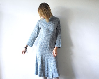 70s knit dress. pastel blue dress. knit winter dress. cowl neck dress - small to medium