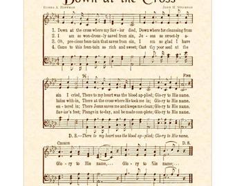 DOWN AT The CROSS - Hymn Wall Art - Custom Christian Home Decor - Vintage Verses Sheet Music - Inspirational Wall Art - Natural Parchment