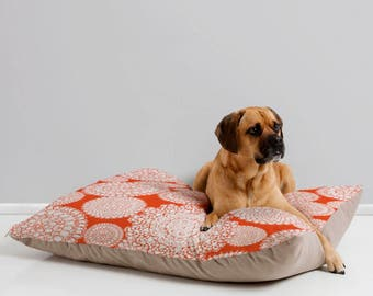 Boho Orange Dog Bed // Pet Bedding // Animal Pillow // Pet Cushion // Delightful Doilies Saffron Design // Bohemian // Dog Bed // Dog Pillow