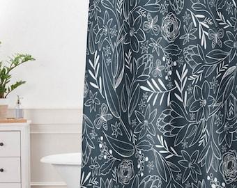 Floral Shower Curtain // Bathroom // Botanical Sketchbook Design // Blue Shower Curtain // Shower // Bathroom Decor // Modern Home Decor