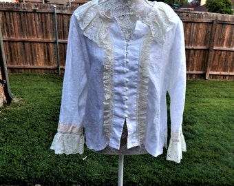 Altered White and Creme Blouse, Cotton and Lace Blouse, Size Medium, Magnolia Style Top, Cotton Chic Blouse, Feminine Blouse, Romantic Top