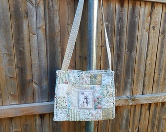 Romantic Handmade Shabby Chic Quilted  Angel Eco Friendly Bag,Pastel Quilted Bag,Medium Sling Bag,Crossbody Bag, Recycled Bag, Pink and Tan