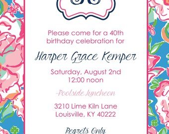 Lucky Charms Monogrammed Invitation- Lilly Pulitzer inspired invitation for birthdays, graduations, briday showers and more!