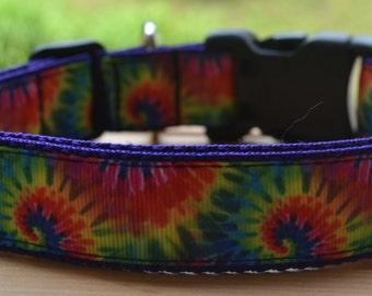 Tie dye on purple dog collar & leash