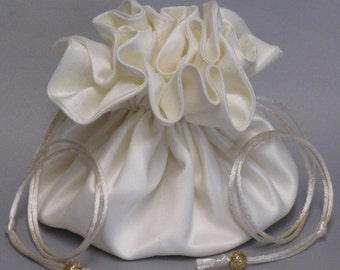 Brides Jewelry Tote Organizer-- Ivory Bridal Satin Drawstring Pouch--Large Size