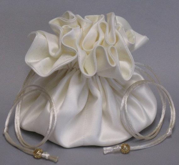 Brides Jewelry Tote Organizer-- Ivory Bridal Satin Drawstring Pouch--Large Size