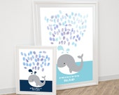 whale fingerprint guestbook - printable file for baby shower or childs birthday thumbprint tree alternative ocean sea animal nursery art diy