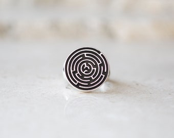 Round Maze Ring, Silver Labyrinth Ring, Signet Ring, Men's Ring, Unisex Ring, Puzzle Ring, Handmade Jewelry by Prairieoats