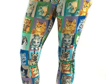Cat Paint By Number Capris Leggings - cat leggings - PBN cats - novelty leggings - cat capris