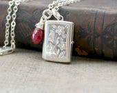 Ruby Locket Necklace, Rectangle Locket, Sterling Silver Locket, Gemstone Locket July Birthstone Locket Push Gift Silver Photo Locket Jewelry