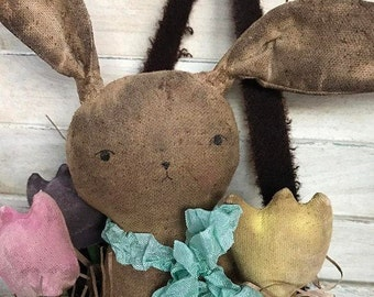 Primitive Rabbit in Wool Bag