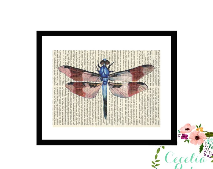 Dragonfly Upcycled Vintage Book Art Box Frame or Print