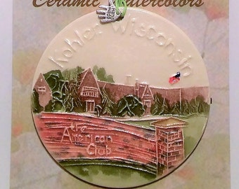 Textured Ceramic-Watercolor Ornament of The American Club in Kohler, Wisconsin